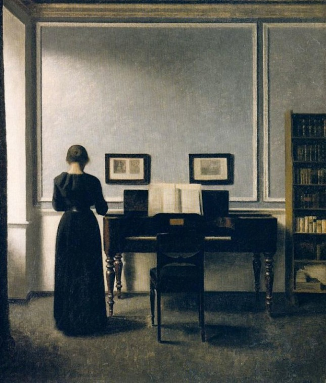 Interior With Piano and Woman in Black (Strandgade 30) por Vilhelm Hammershøi, 1901